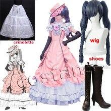 Robe de Cosplay victorienne pour femmes, Anime Ciel fantôme ruche, robe de bal, Costumes gothiques Lolita noir, majordome, perruque
