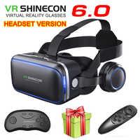 VR Shinecon 6,1 VR gafas de realidad Virtual 3D Google Cardboard VR caja de auriculares gafas casco para teléfono inteligente