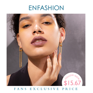 Image 1 - ENFASHION Geometric U Shape Drop Earrings For Women Accessories Gold Color Minimalist Long Dangle Earings Fashion Jewelry E1134