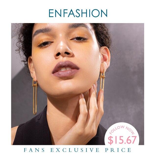ENFASHION geometrik U şekli damla küpe kadınlar için aksesuarları altın rengi Minimalist uzun Dangle küpe moda takı E1134