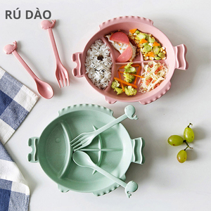 Wheat Straw Fish Shaped Grid Plate Household Tableware Set Children Plate Breakfast Tray Baby Separated Plate|Lunch Boxes| |  -