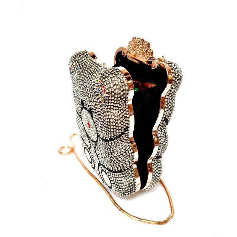 Bag For Women 3D Panda Shape Women Gold Black Crystal Evening Clutch Handbags and Purses Diamond Wedding Party Bag-BeeInFly