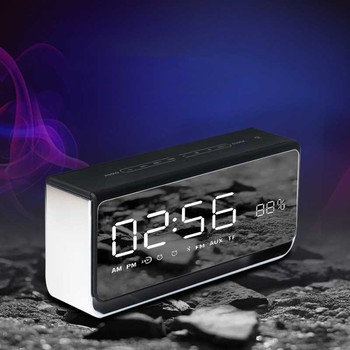 LED time alarm clock mobile phone card gift touch headlamp E 8 Bluetooth speaker mirror wireless.