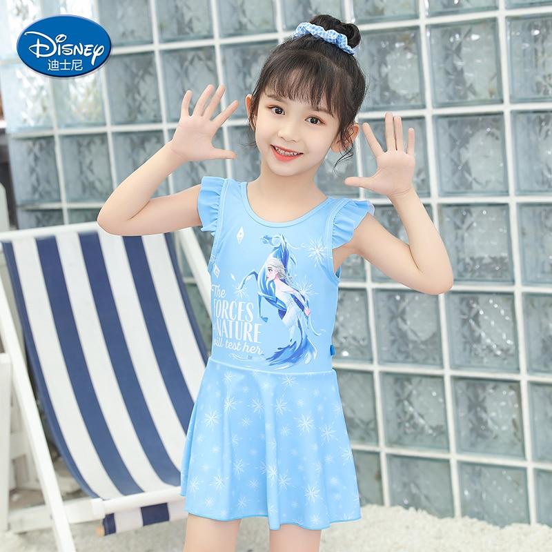 Disney Summer Cartoon Children's Breathable Swimsuit Girls Quick-drying One-piece Suit Student Girl Aisha Cute Swimwear