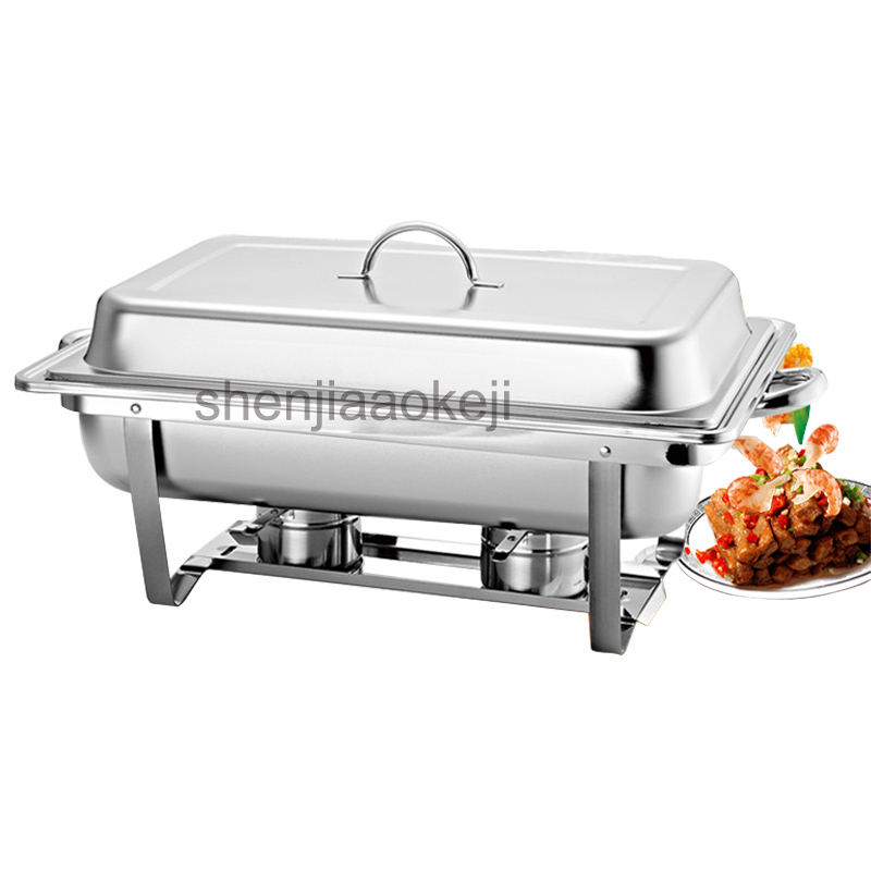 Stainless Steel Commercial Square Buffet Stove 9L Rectangular Chafing Dish Sets With Folding Or Fixing Frame Optional 1pc