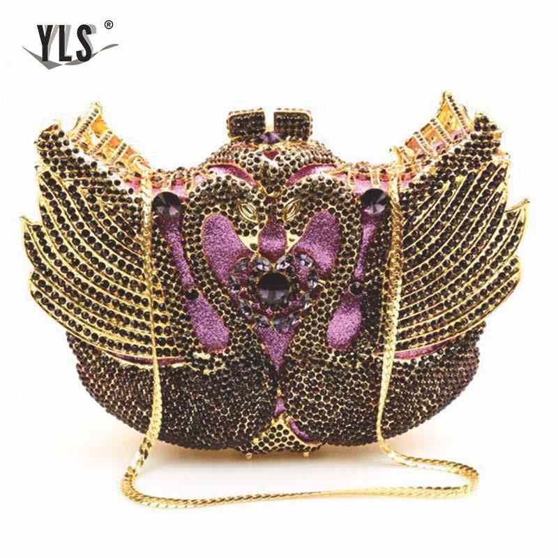 Модные роскошные сумки с кристаллами, дизайнерские сумки-клатчи со стразами в виде лебедя для дам, кошелек, Свадебные вечерние сумки для невесты