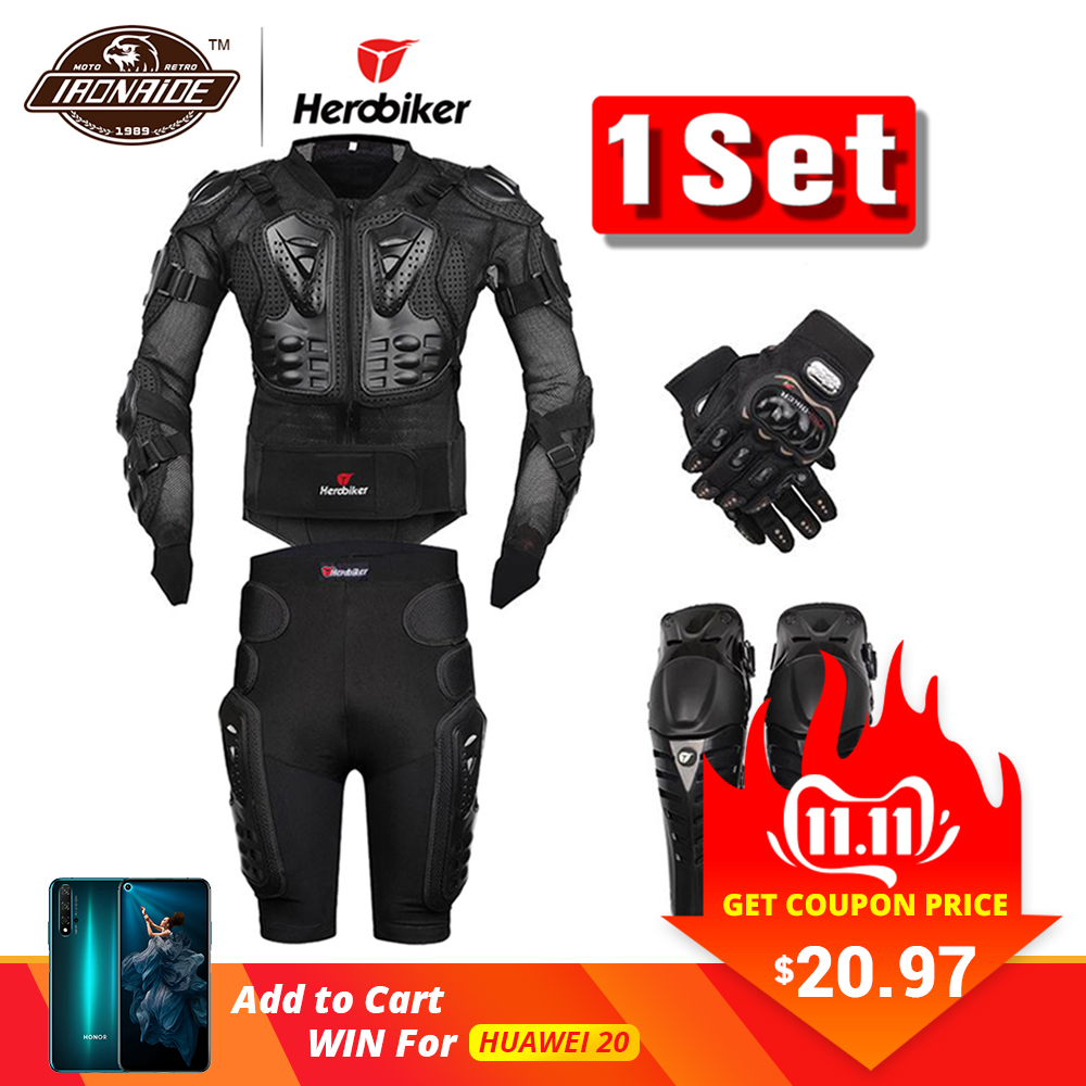 Nouveau Moto Motocross course Moto Body Armor équipement de Protection Moto veste + short pantalon + Protection genouillères + gants garde