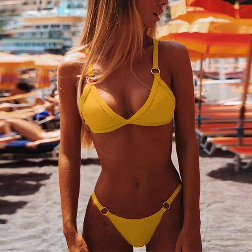 Micro Thong Pakaian Wanita Bandeau Perban Bikini Set Halter 2020 Push-Up Brasil Baju Renang Pakaian Renang Baju Renang @ 25