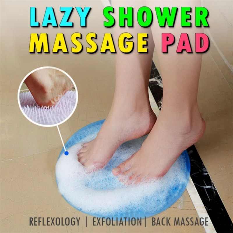 Leniwy masująca do kąpieli Pad silikonowe przyssawki kapcie wanna szczotka do stóp martwe usuwanie skórek łazienka mata do prysznica antypoślizgowy Bat