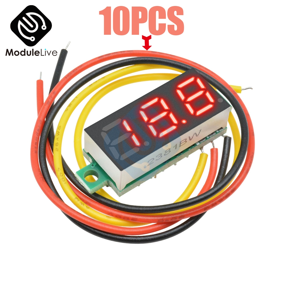 <font><b>10PCS</b></font> Red Color 0.28 inch 3 Bits 3 Digits Wire Mini DC Digital Panel <font><b>Voltmeter</b></font> Panel Mount 0.28 Inch LED Voltage Meter Tester image