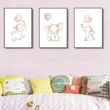 Детский Настенный художественный постер слон воздушный шар Печать