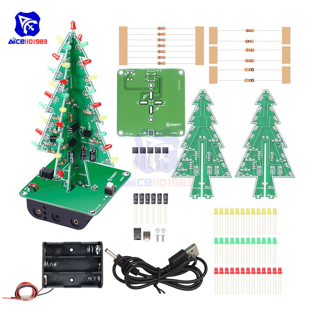 diymore DIY 3D Christmas Tree Soldering Practice Electronic Science Assemble Kit 3 Color Flashing LED PCB(China)