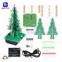 diymore DIY 3D Christmas Tree Soldering Practice Electronic Science Assemble Kit 3 Color Flashing LED PCB