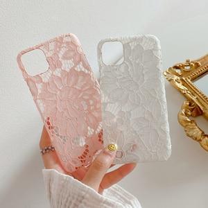 Чехол с цветочным кружевом для iphone 11 11 Pro Max SE 2020 XR XS Max 7 8 Plus X 11 Pro, Розовый Мягкий тканевый чехол-накладка