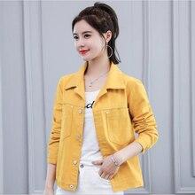 Женщины Осень Куртка 2020 Джинсовые Куртки Корейский Моды Одежда Для Женщин На Улице Джинсы Пальто Свободного Покроя Костюмы Черный Красный Желтый Новый