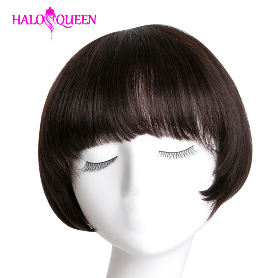 Short Wigs Straight Wigs Peruvian Remy Hair Wigs Short Human Hair Wigs For Women Natural Color Full Machine Made Wigs With Bang
