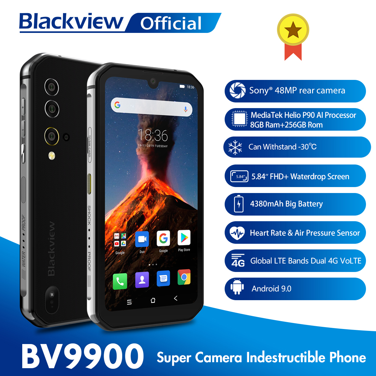 Blackview BV9900 Helio P90 Octa Core 8GB+256GB IP68 Rugged Mobile Phone Android 9.0 48MP Quad Rear Camera NFC Smartphone image