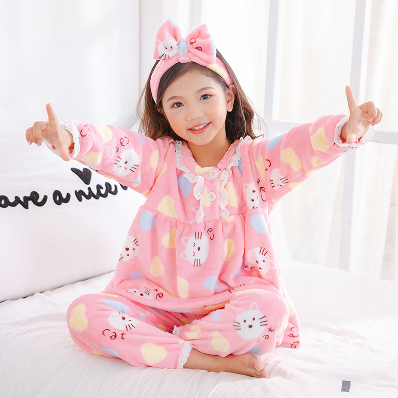 Girls Autumn And Winter Baby Coral Velvet GIRL'S Tracksuit Children Flannel Kids Pajamas Suit Winter Send Hair Band