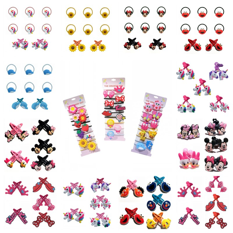 10pcs Cute Animals Flower Elastic Hair Bands Cartoon Mickey Hairbands Hair Accessories For Girls Hair Ropes Hairpins Kids Gift