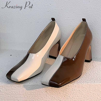 Krazing pot unique fashion mixed colors full grain leather square toe high heels lace up women modern slip on simple shoes L09