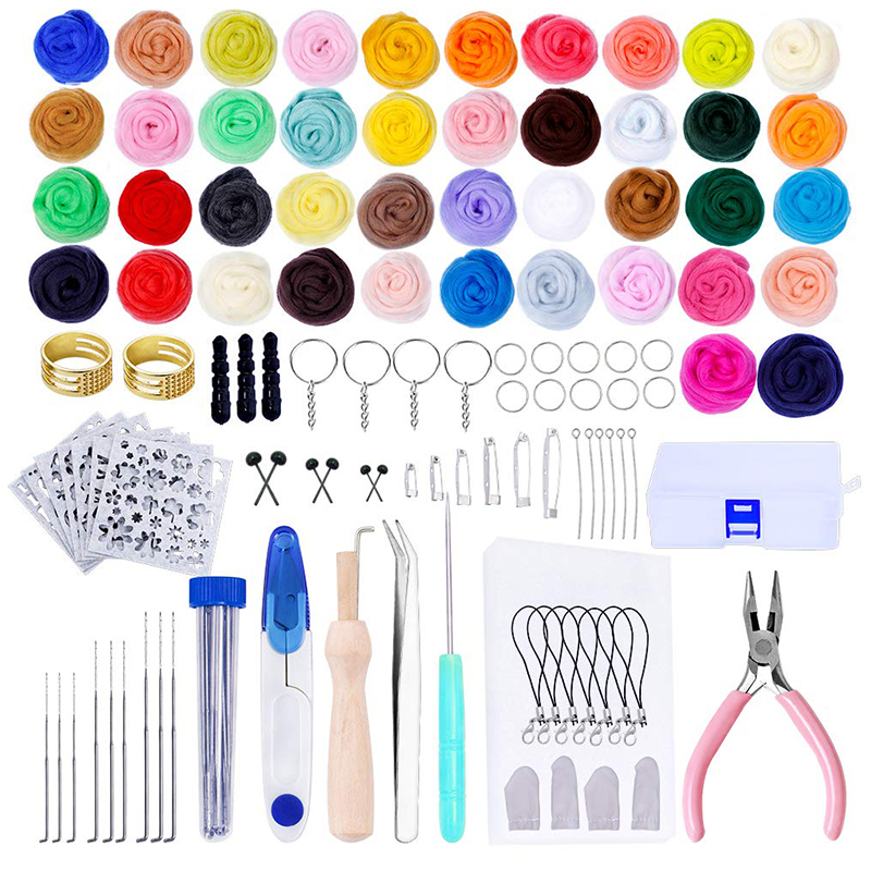 LMDZ Needle Felting Kit Wool Felt Tools Wool Roving For Felting Wool Needle Hand Spinning DIY Craft Making Ideal Gift 42 Colors