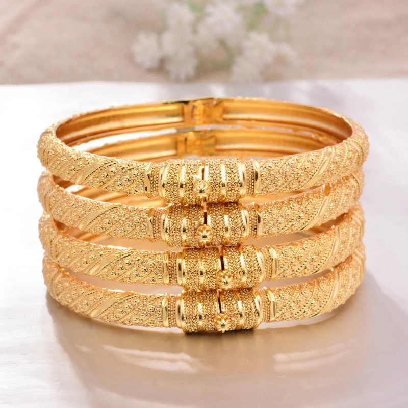 Açabilirsiniz 4 adet/grup Dubai altın renk bilezik kadın erkek altın bilezik afrika avrupa etiyopya kızlar gelin bilezik hediye