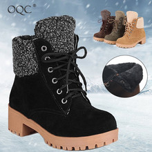 Купить с кэшбэком OQC Women's Winter Snow Ankle Boots Fur Lined Lace Up Block Heel Warm Boots Combat Boots Wedges Round Head Casual Ankle Boot D25