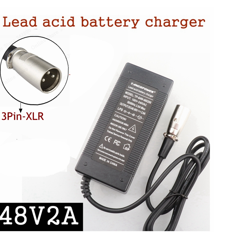 48V 2A 3Pin XLR Plug Lead Acid Battery Charger For 57 6V Electric Bicycle Scooters Motorcycle
