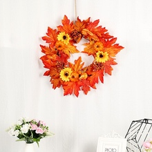 Artificial Pumpkin Maple Leaves Sunflower Wreath Home Harvest Decoration Christmas Wreath Thanksgiving Decoration Autumns Decor forty autumns