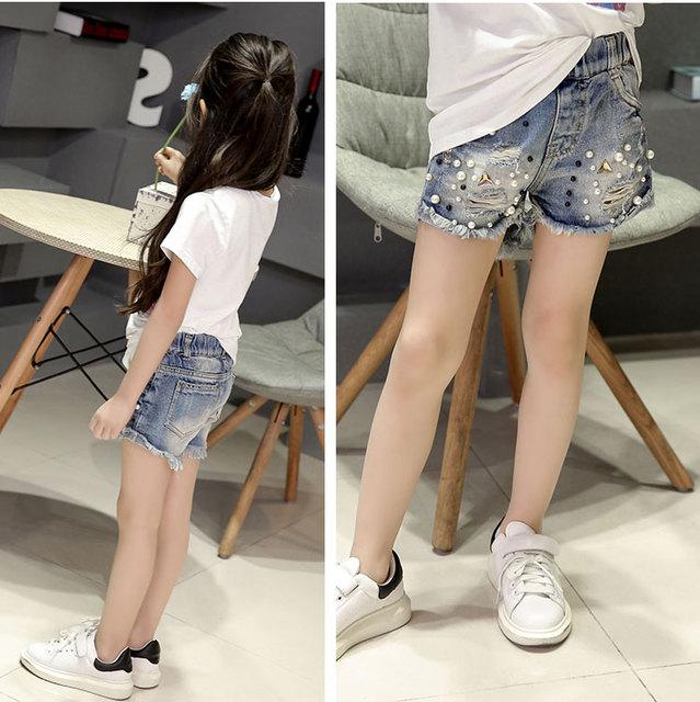 2019 Spring summer new girls denim shorts Korean children's wild washed broken flash edge hot pants jean fille 4