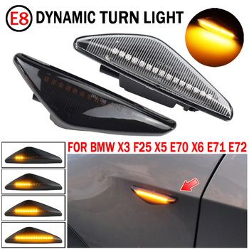 2PCS LED Dynamic Side Marker Turn Signal Repeater Light Indicator Flowing Flash Fit For BMW X3 X5 X6 E70 E71 2008-2014 E72 F25 image