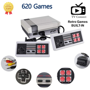 2020 Classic mini game console classic game player Built-in 620 Retro Games , AV output, 8-bit and two players for kids gift