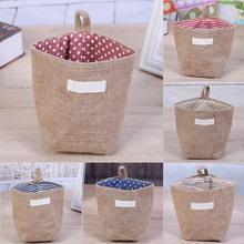 Basket-Organizer Toys Jute-Storage-Bag Handles Small-Items Desktop Wall-Store Hanging-In-Door