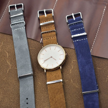 Onthelevel Nato Strap 20mm 22mm Zulu Watch Grey Yellow Blue Soft Suede Watchband Stainless Steel Square Buckle #D