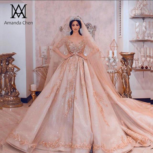 Amanda Ontwerp robe de mariee courte Luxe Lange Mouwen Puffy Baljurk Crystal Glanzende Trouwjurk 2019