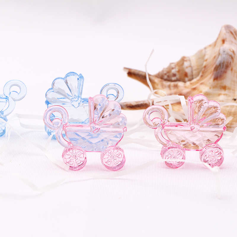 30pcs Pink Blue Mini Baby Carriage Baby Shower Favor  Christening Party Favor Decor Birth Announcement Cake Gift Box Decorations