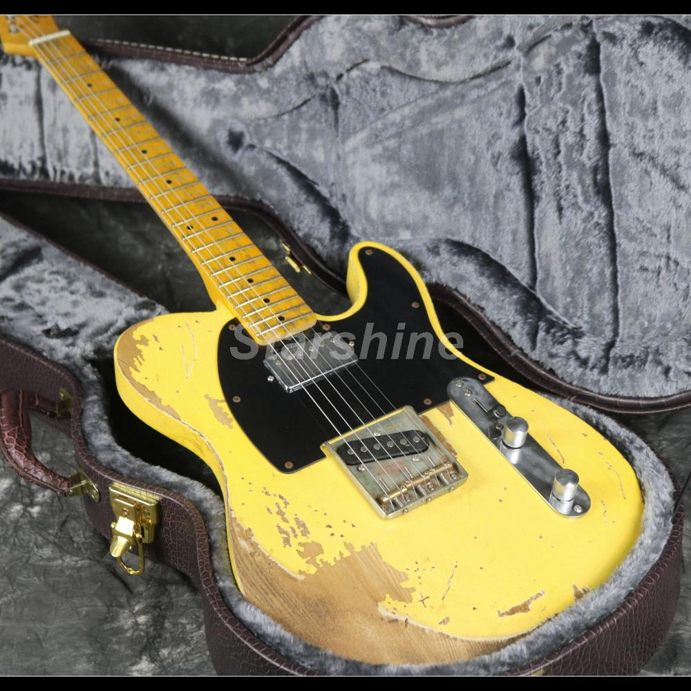 2019 Popular Heavy Relic TL Electric Guitar Z-ZC4  Strings Thru Body Nitrolaquer ASH Yellow Color Neck Humbucker Pickups