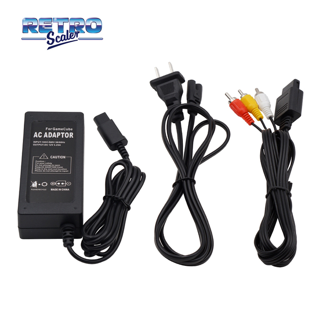 US Version AC Adapter Power Supply and Audio Video A/V Cable for Nintendo GameCube Console