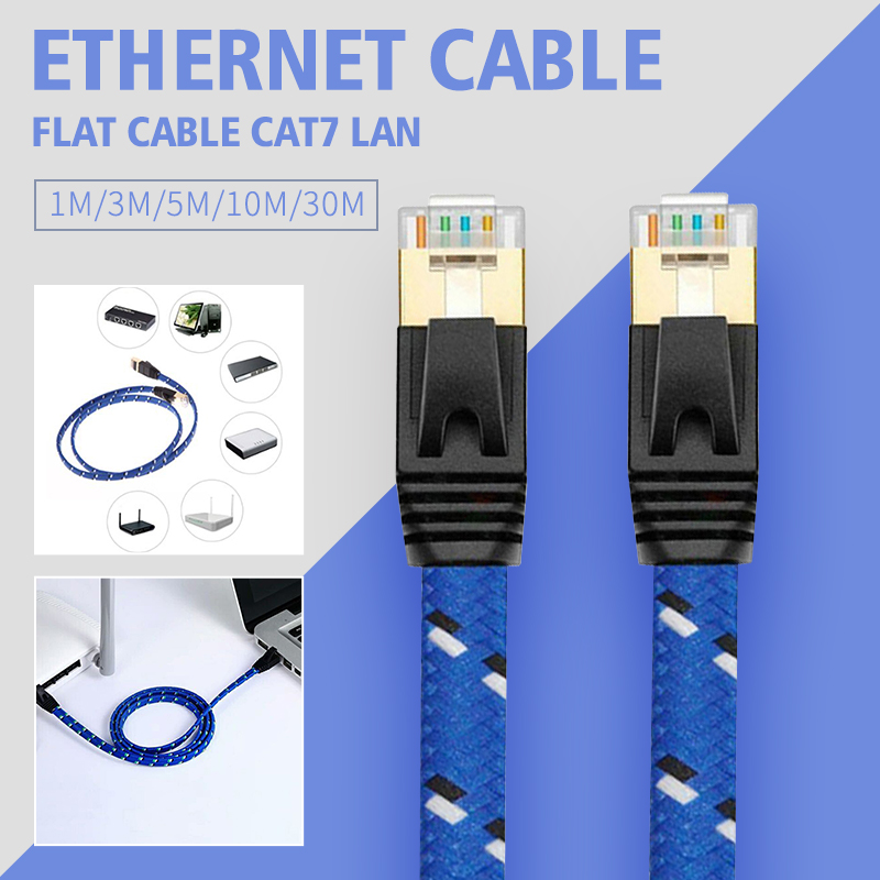Cat7 Ethernet Cable Lan Flat Cable UTP CAT 7 RJ 45 Network Cable 1m 3m 5m