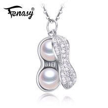 FENASY Pearl Pendant Necklace For Women Natural Freshwater Pearl Pendants necklaces Custom Trendy Peanut Pendant fenasy 18k yellow gold pendant pearl jewelry au750 gold sqare pendant for lovers pearl pendants send with 925 silver necklace