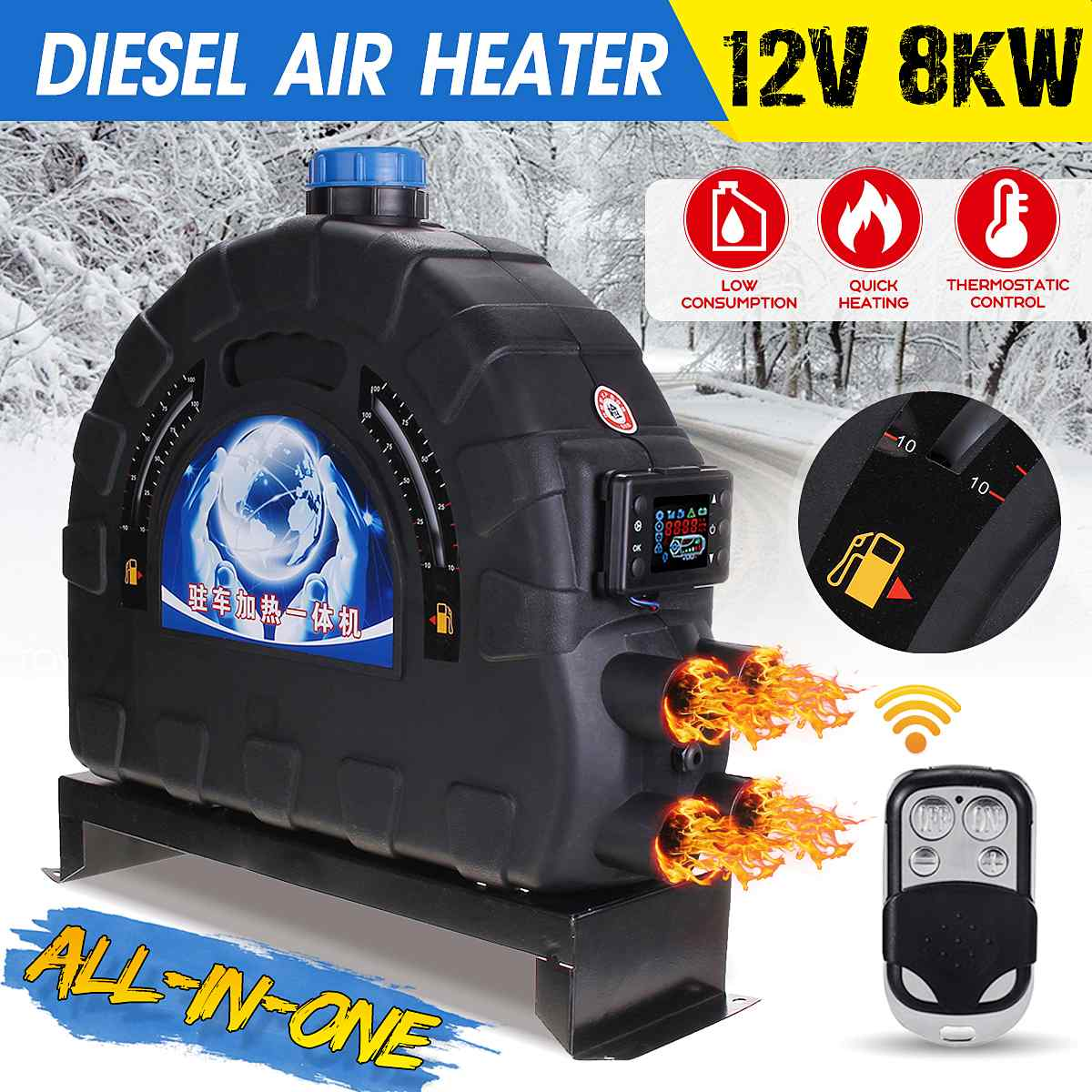 12V 8KW Car Heater Diesel Air Parking Heater LCD Monitor Rmote Control + Silencer for Trucks Bus Trailer Heater New Arrival 2019|Heating & Fans| |  - title=