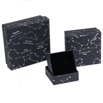 Black Box For Jewelry Constellation Star Jewelry Box Ring Pendant Necklace Paper box  Square jewelry organizer box Engagement