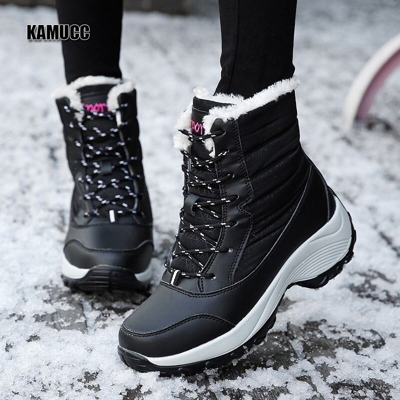 2019 Women Snow boots Waterproof Non-slip Parent-Child Winter Boots Thick Fur Platform Waterproof and Warm Shoes Plus Size 31-42 49