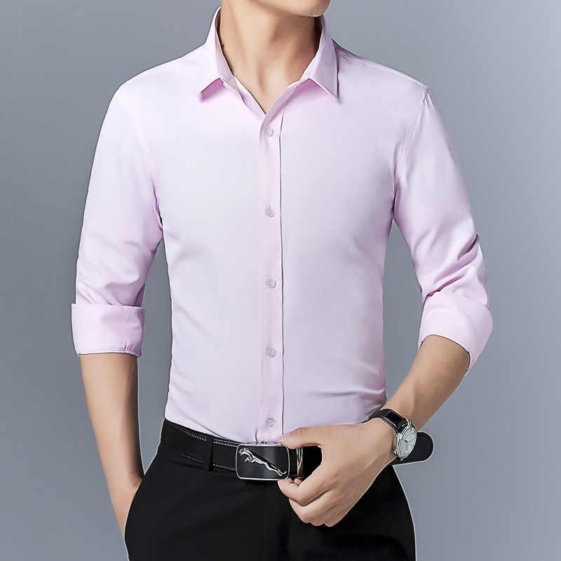 Alta qualidade de manga longa camisa masculina negócios casual moda algodão camisa dos homens camisa social magro ajuste vestido camisa