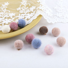 2pcs diy handmade accessories autumn and winter style imitation mink beads pendant hair ball earrings material