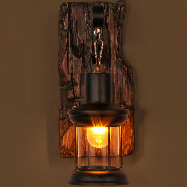 Wandlamp Indoor Home Decor Industriële Led Wandl Gang Vintage Hotel Natuur Hout Licht 5