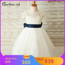 Кружевные платья для девочек цвета слоновой кости с цветочным