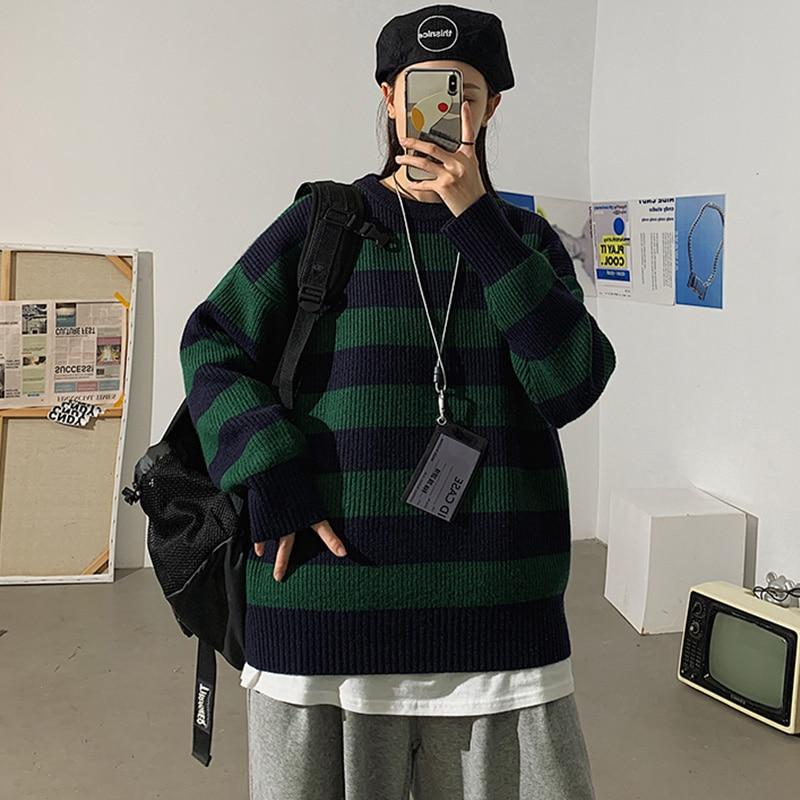 Разборчивого осень-зима свитер для женщин Повседневная Женский свитер пуловер Джемпер в полоску Теплые подростковые для девочек свитера