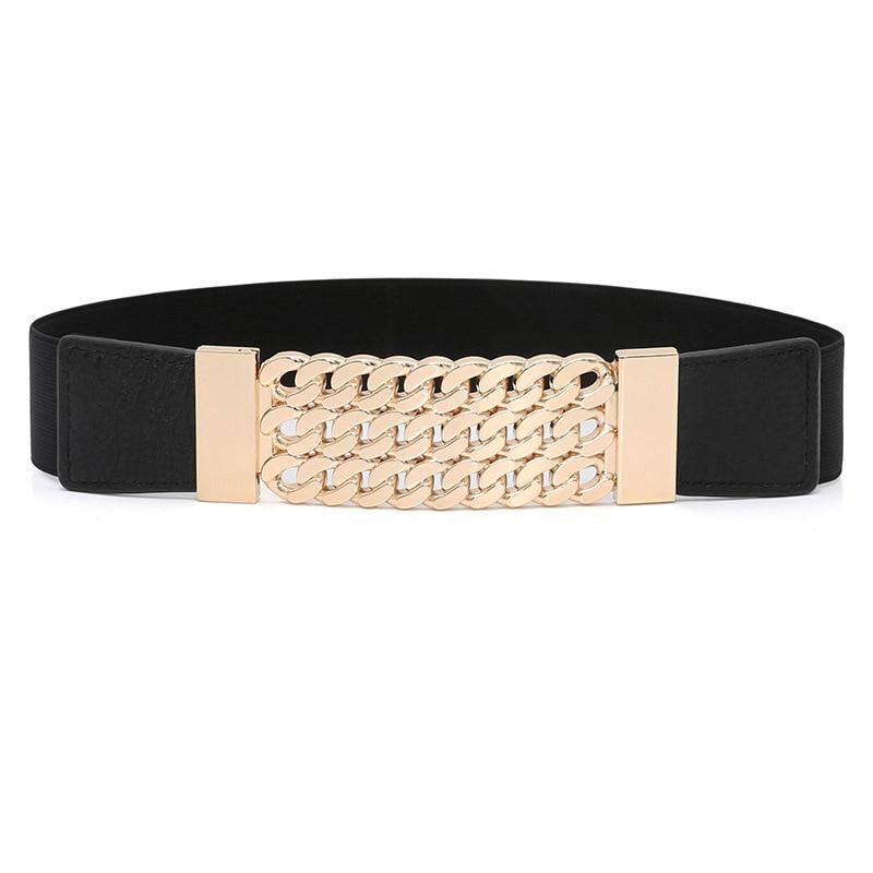 Punk Dress Belt For Women Rivet Metal Gold Chain Waistband Ladies Leather Female Luxury Brand Belt For Dresses SW64