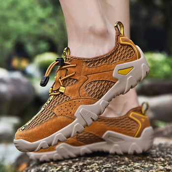 Summer mesh men's breathable and hollow outdoor leisure sandals soft bottom antiskid hiking men's shoes